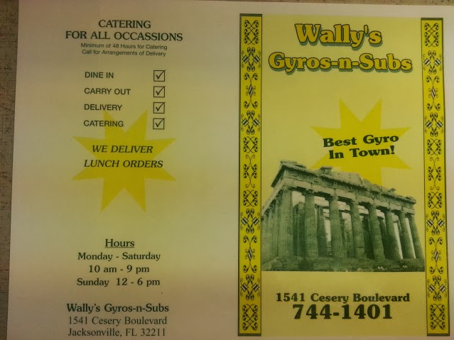 Wally's Gyros and Subs Menu